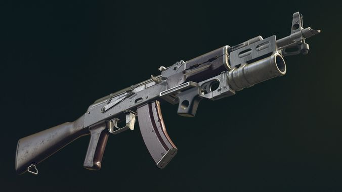 akm automatic rifle equipped with  gl25 3d model obj mtl 1