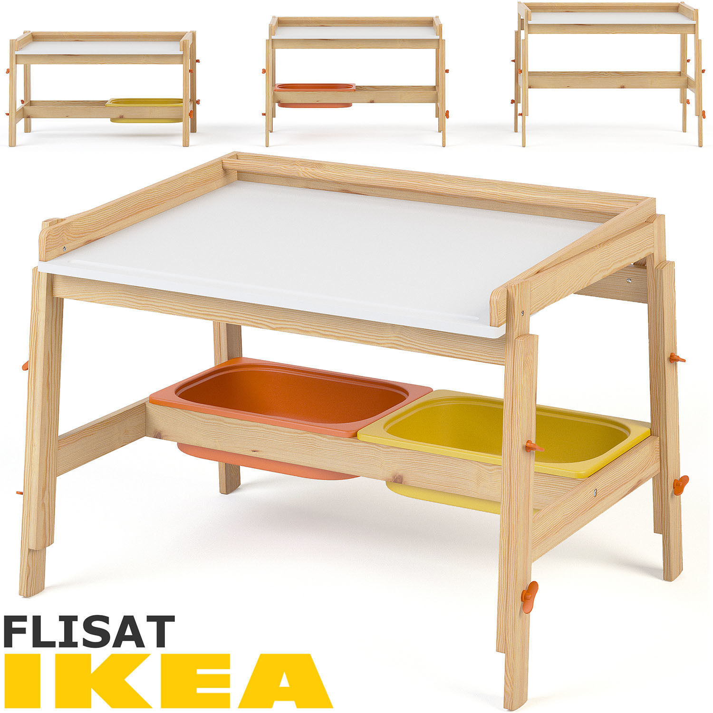 Ikea Flisat Child Desk Set 3d Model Max Obj Fbx Mtl Mat 1