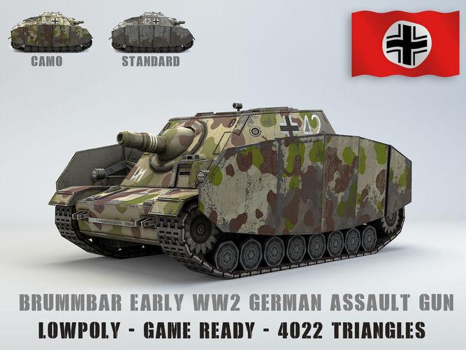 low poly sdkfz 166 sturmpanzer brummbar early 3d model fbx 1