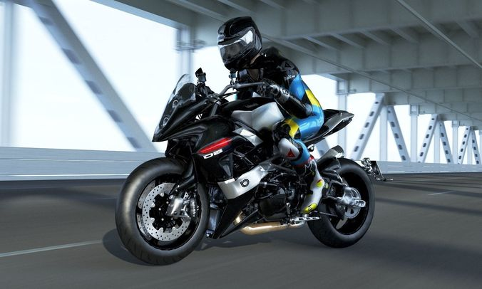 bimota db9 with rider 3d model low-poly rigged max obj mtl 3ds fbx mat 1