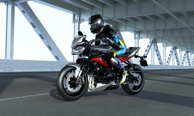 triumph street triple rx with rider 3d model low-poly rigged max obj mtl 3ds fbx mat 1
