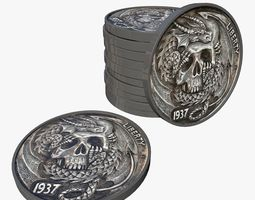 realtime Pirate Coins with Skulls 3D Model