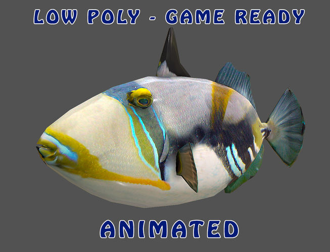 low poly picasso triggerfish animated - game ready 3d model low-poly max obj mtl 3ds fbx 1