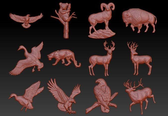 animals barelief pack 3d model stl 1