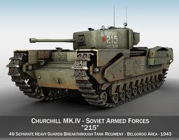 3D tank Churchill MK IV - 215 - Soviet Army