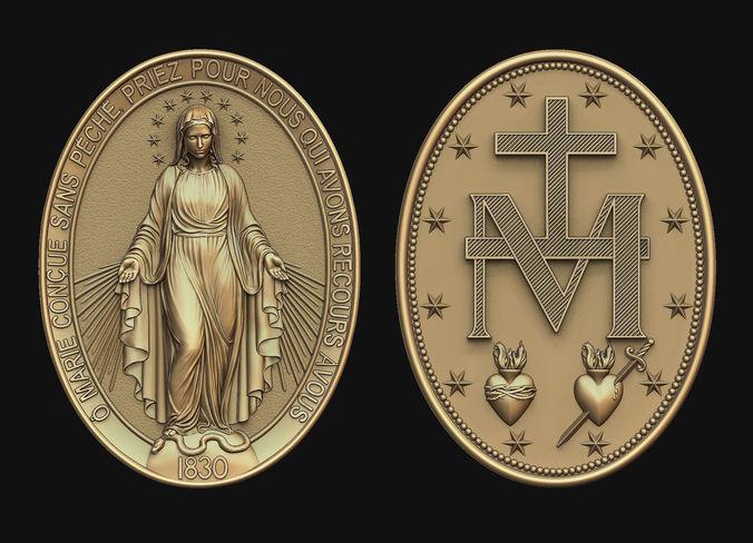 virgen milagrosa miraculous medal 3d model obj mtl stl 1