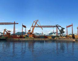 3D Dock warehouse loading and unloading crane animation
