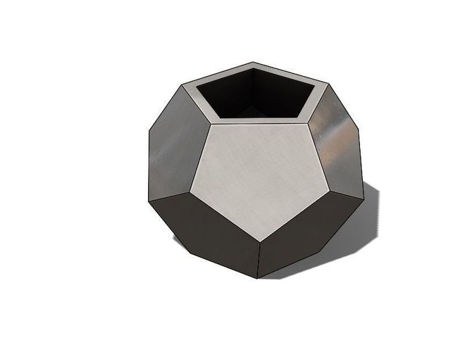 Concrete Vase Dodecahedron Low 3d Print Model