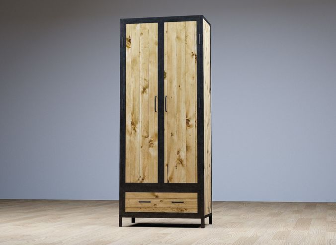 Rustic Wardrobe Closet 3d Model Obj Fbx Ma Mb 1 ...