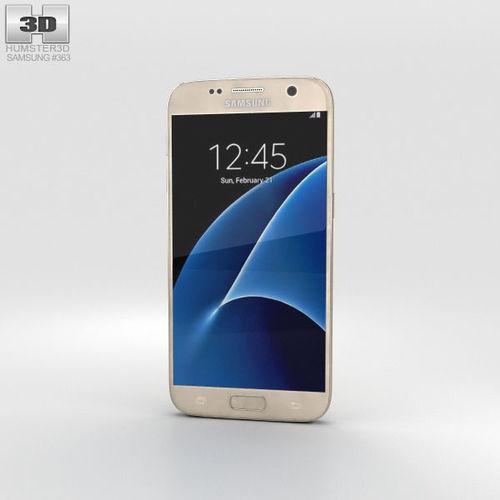 samsung galaxy s7 gold 3d model max obj mtl 3ds fbx c4d lwo lw lws 1