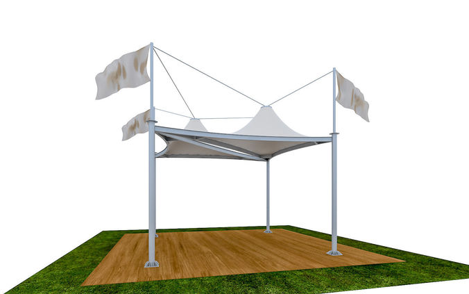 sc 1 st  CGTrader & Tensile Membrane Tent Roof Shade exterior 3D game-ready