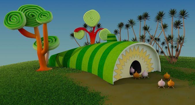 insect cartoon house 3d model low-poly max obj mtl 3ds fbx tga 1