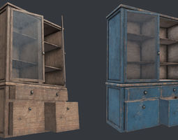 Obj Fbx 3ds Blend Mtl And More 3D Model Wood Cabinet 3 PBR