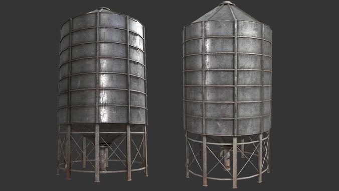 farm silo 6a pbr 3d model low-poly max obj mtl 3ds fbx dae tga 1