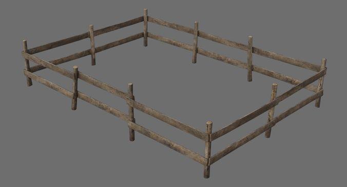 wooden fence 1a 3d model low-poly obj mtl fbx blend 1