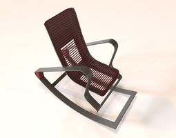 3D asset Designer Red Rocking Chair