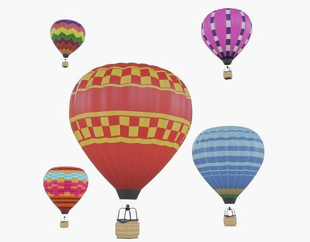 hot air balloon collection 3d model rigged animated obj mtl 3ds fbx stl blend dae 1