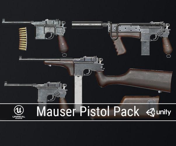 pbr mauser pistol pack 3d model low-poly obj fbx ma mb dae 1