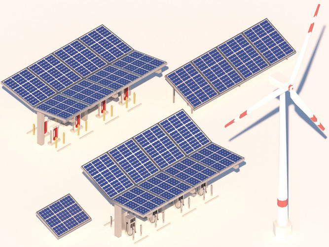 Cartoon Solar Panel Wind Turbine Electric Vehicle Charger D Model Low Poly Max Obj Fbx