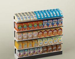 3D Storage shelving rack store cereal food