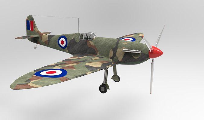 spitfire 3d model low-poly max obj mtl 3ds fbx stl dwg 1