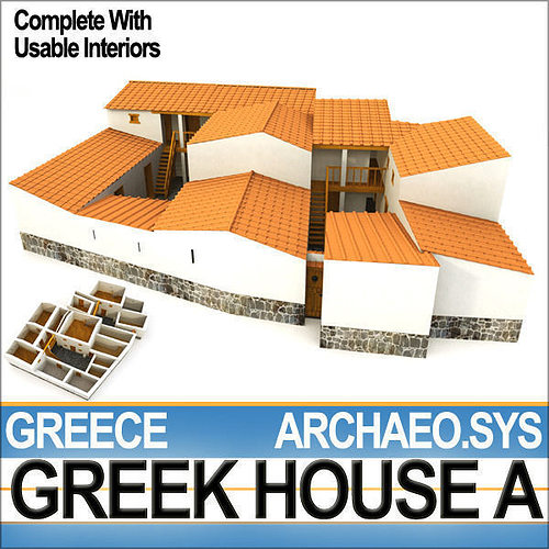 3d ancient greek house a cgtrader. Black Bedroom Furniture Sets. Home Design Ideas