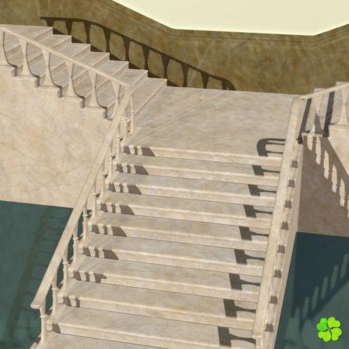 Beau Marble Staircase Low Poly 3d Model Low Poly Obj Mtl Fbx Blend 12