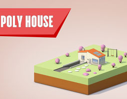 3D model LOW-POLY SIMPLE HOUSE