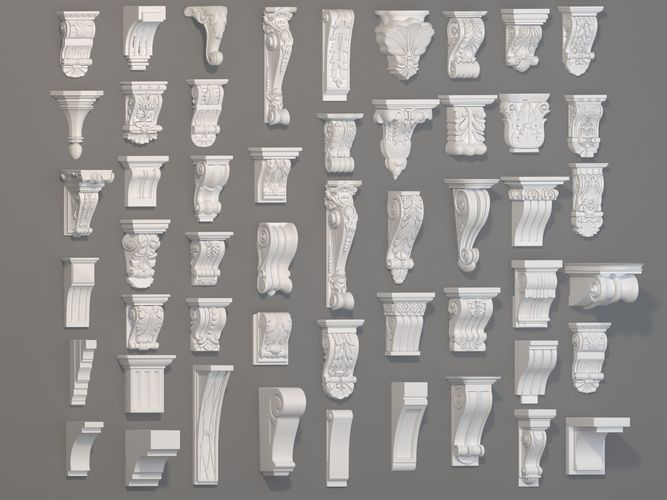 corbels collection -1 - 51 pieces 3d model max obj mtl fbx stl 1