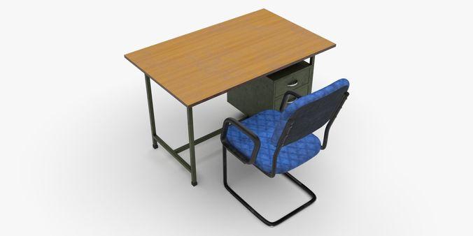 office table-chair set 3d model obj 3ds fbx stl blend mtl 1 & 3D asset rigged Office Table-Chair Set | CGTrader