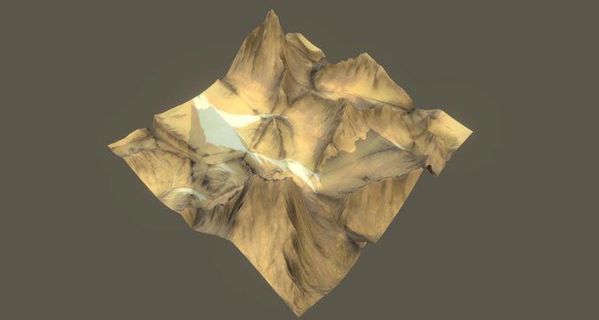 Low Poly Realistic Desert Mountain Terrain 10