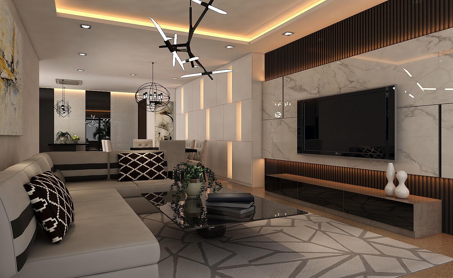 living-dining hall interior design ver 1 | 3d model