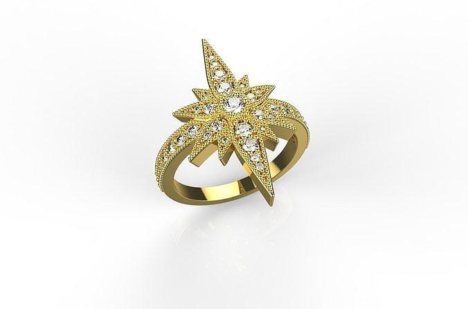 18k gold noble star  diamond ring  3d model stl 3dm 1