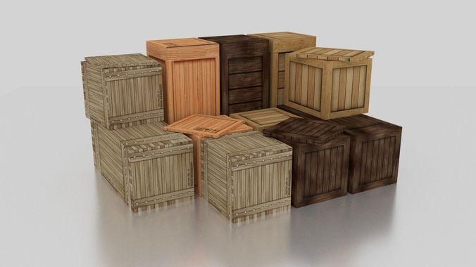 wood box 3d model obj mtl 3ds fbx stl blend dae 1