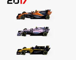 3D asset Formula 2017 cars pack 2