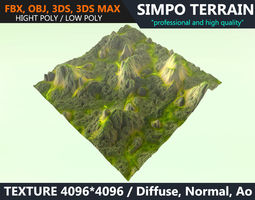 Low poly Realistic Green Mountain Terrain 06 - 3D model 1