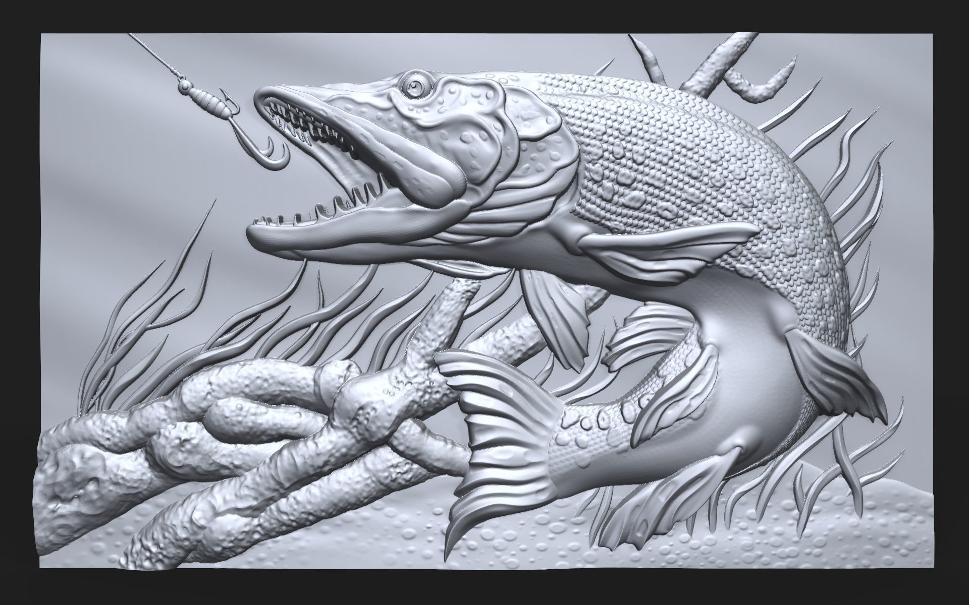 Pike fishing bas relief for CNC