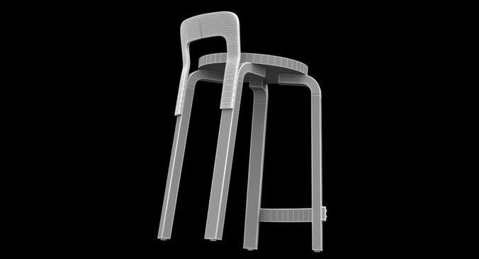 artek alvar aalto k65 chair 3d model cgtrader