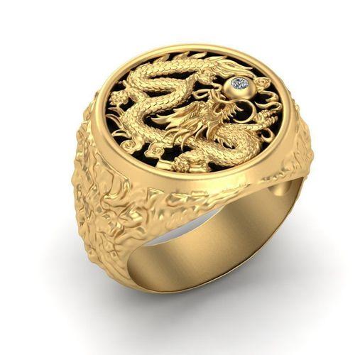 mens ring with a dragon 3d model obj mtl stl 3dm 1