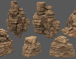 3D asset desert rocks 2