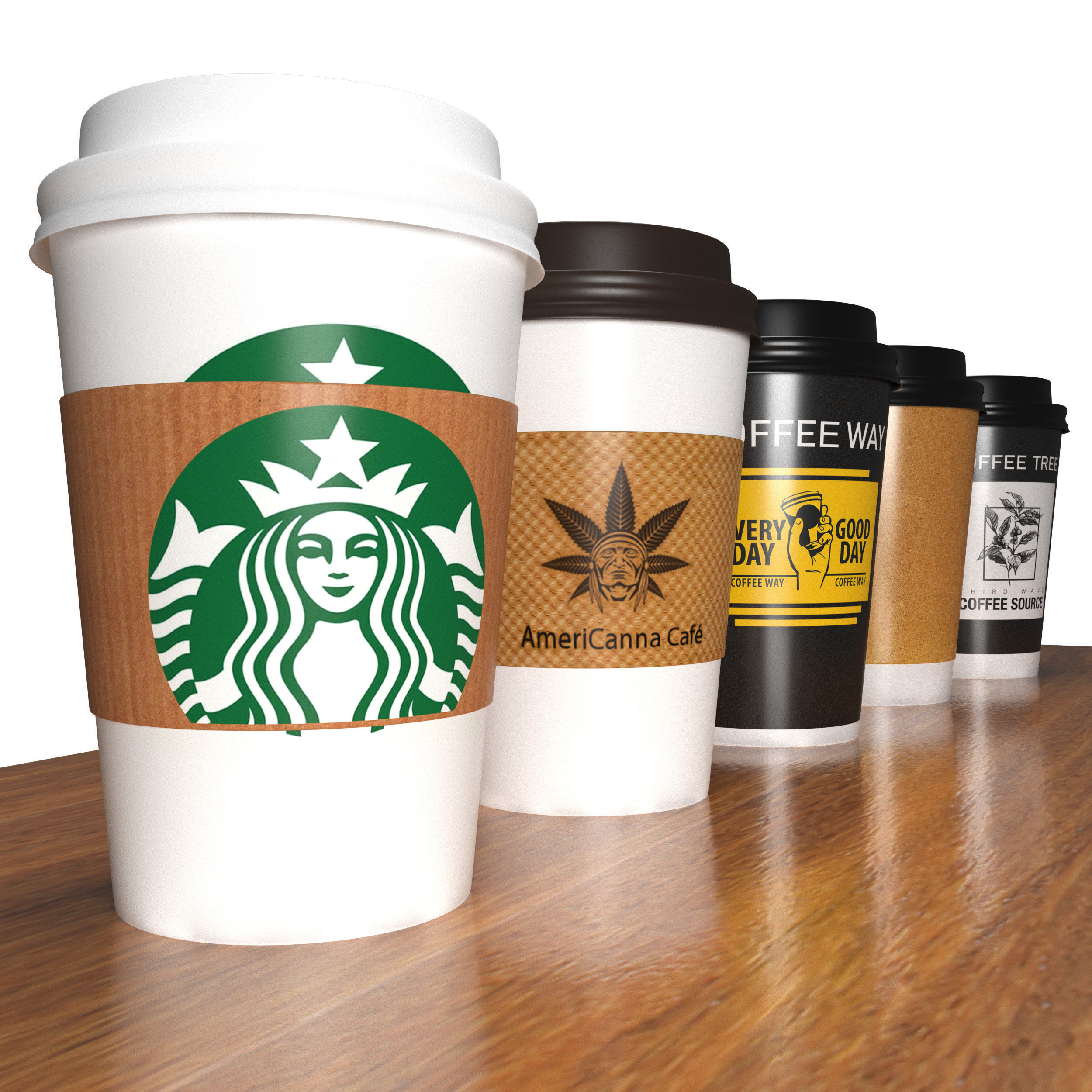 Takeout coffee cups