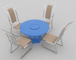 Simple Chair and stool table tea garden table 3D model