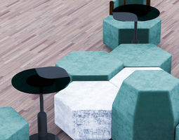 3D model Cafeteria Seating