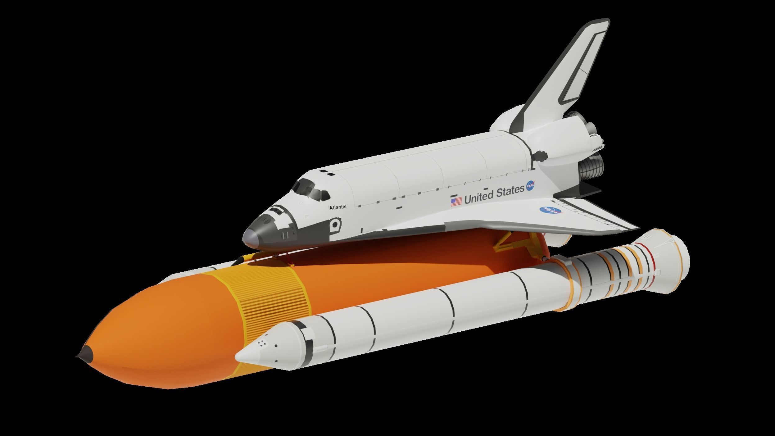 3D model Space Shuttle Side Boosters And Fuel Tank Low 1