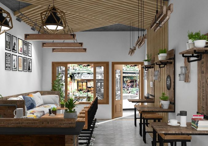 cafe interior 3d model 3d model max tga 1