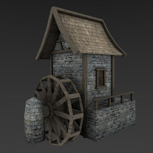 medieval watermill 3d model low-poly obj mtl 3ds fbx blend unitypackage prefab 1