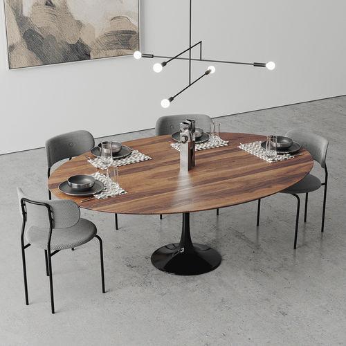 ... Oval Tulip Dining Table 78 Inch Walnut Set 3d Model Max Obj Fbx Mtl Mat  4 ...