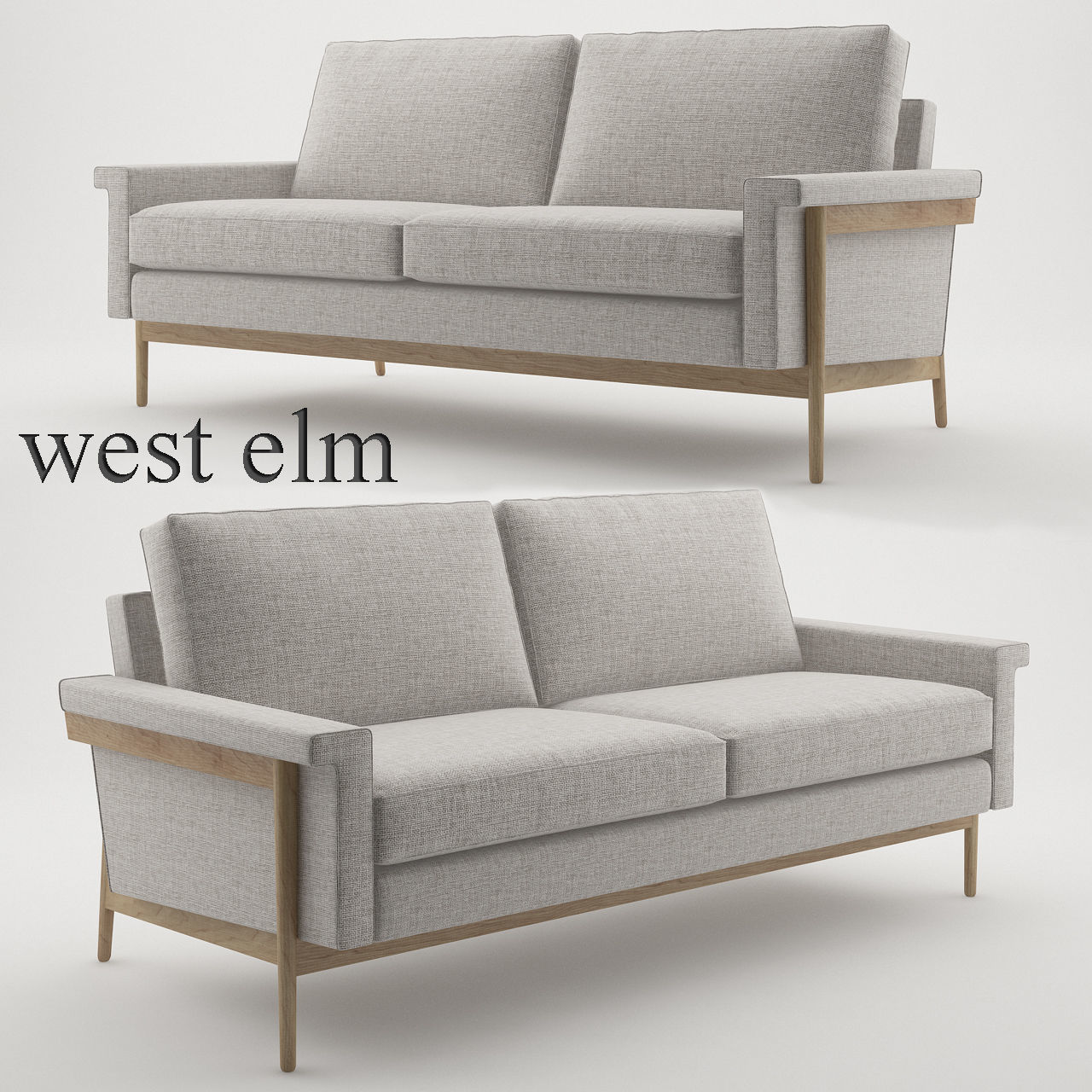 Peachy Leon Wood Frame Loveseat 68 By West Elm 3D Model Caraccident5 Cool Chair Designs And Ideas Caraccident5Info