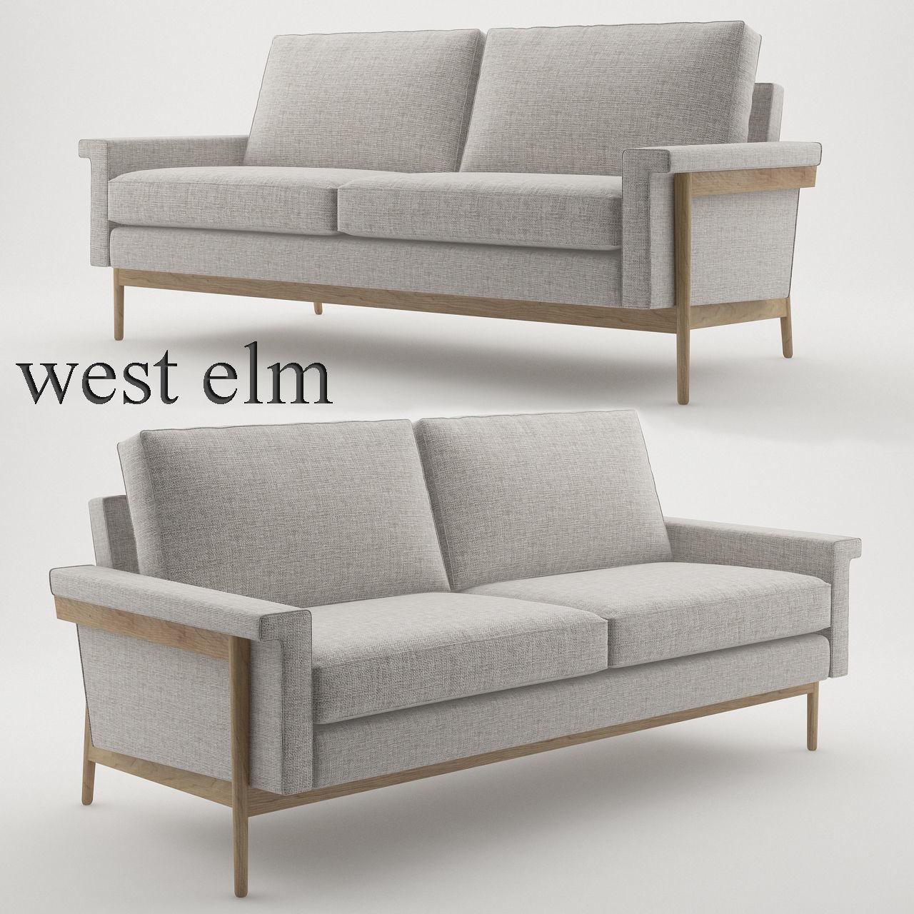 Enjoyable Leon Wood Frame Loveseat 68 By West Elm 3D Model Machost Co Dining Chair Design Ideas Machostcouk