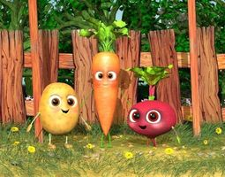 Vegetables character pack with environment 3D
